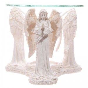 Quemador de Aceite de Ángel color blanco rezando