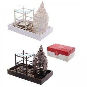Quemador de Aceite en Bandeja con Buda y piedras