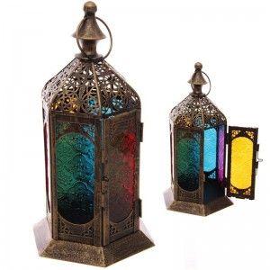 Farol estilo Marroquí efecto Desgastado de Metal y Cristal