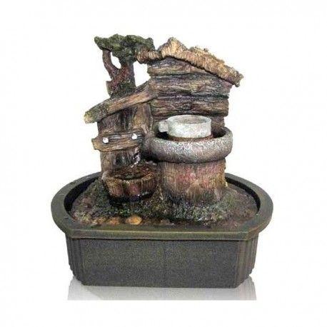Fuente con casita y piedra rodante