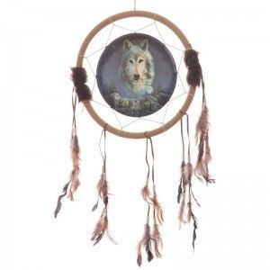 Atrapasueños Lobo, Espíritu cuidando manada - Aro 33 cm