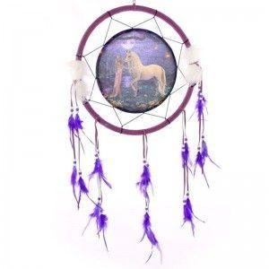 Atrapasueños de fantasía con Unicornio en jardín - Aro 33cm